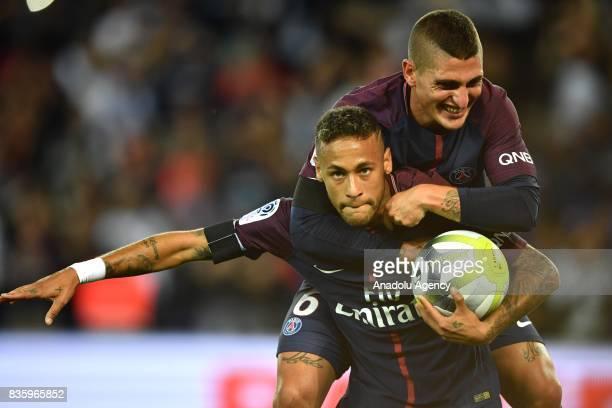 Neymar of Paris SaintGermain celebrates with Marco Verrati after scoring during the French Ligue 1 soccer match between Paris SaintGermain and...