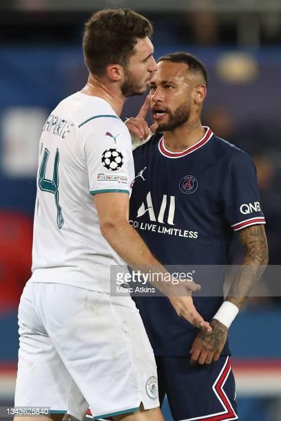 Neymar of Paris Saint-Germain confronts Aymeric Laporte of Manchester City during the UEFA Champions League group A match between Paris Saint-Germain...