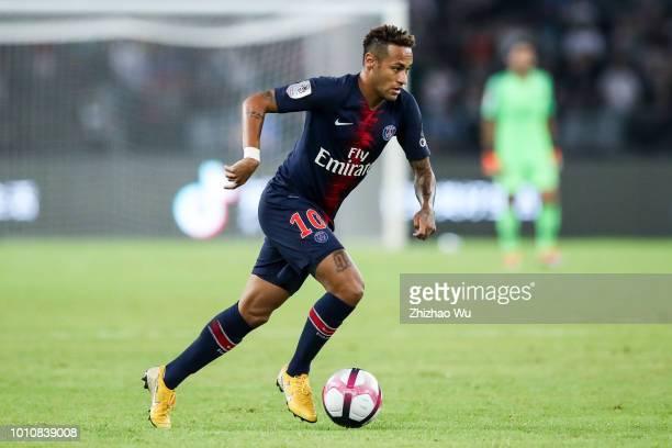 Neymar of Paris SaintGermain controls the ball during the match between Paris Saint Germain and Monaco at Shenzhen Longgang Sports Center on August 4...
