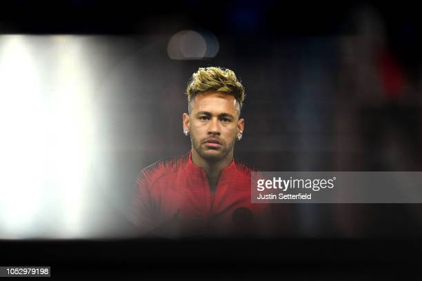 Neymar of Paris SaintGermain during the Group C match of the UEFA Champions League between Paris SaintGermain and SSC Napoli at Parc des Princes on...