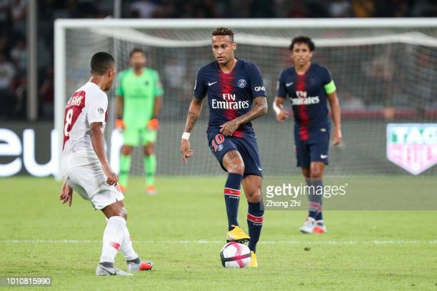 Neymar of Paris SaintGermain in action during the French Trophy of Champions football match between AS Monaco and Paris SaintGermain at Shenzhen...