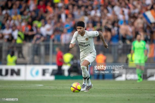 Neymar of Paris SaintGermain in action during the Montpellier Vs Paris SaintGermain French Ligue 1 regular season match at Stade de la Mosson on...