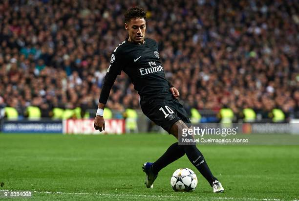 Neymar of Paris SaintGermain in action during the UEFA Champions League Round of 16 First Leg match between Real Madrid and Paris SaintGermain at...