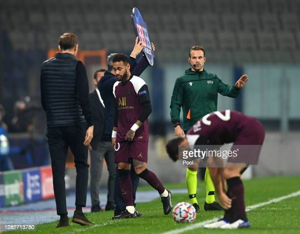 Neymar of Paris SaintGermain is substituted following an injury during the UEFA Champions League Group H stage match between Istanbul Basaksehir and...