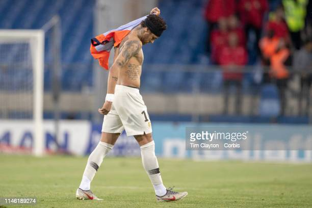 Neymar of Paris SaintGermain leaves the field after swapping shirts with Hilton of Montpellier after his sides loss during the Montpellier Vs Paris...