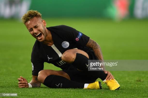 Neymar of Paris SaintGermain lies injured during the Group C match of the UEFA Champions League between Paris SaintGermain and Red Star Belgrade at...
