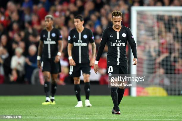 Neymar of Paris SaintGermain looks dejected after conceding the first goal during the Group C match of the UEFA Champions League between Liverpool...