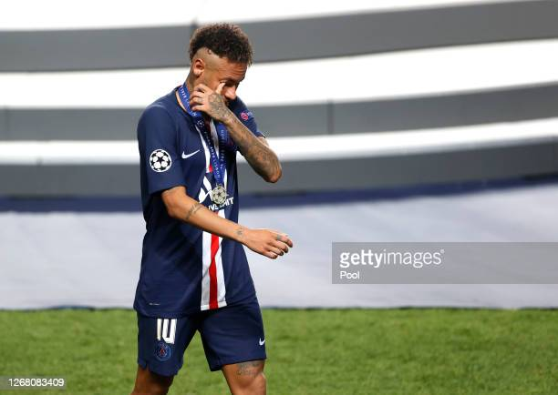 Neymar of Paris SaintGermain looks dejected following his team's defeat in the UEFA Champions League Final match between Paris SaintGermain and...