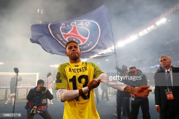 Neymar of Paris SaintGermain looks on after the UEFA Champions League Group C match between Paris SaintGermain and Liverpool at Parc des Princes on...
