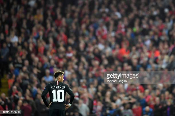Neymar of Paris SaintGermain looks on during the Group C match of the UEFA Champions League between Liverpool and Paris SaintGermain at Anfield on...