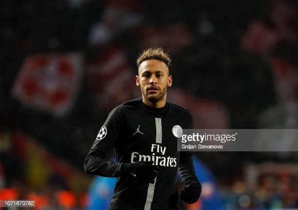 Neymar of Paris SaintGermain looks on during the UEFA Champions League Group C match between Red Star Belgrade and Paris SaintGermain at Rajko Mitic...