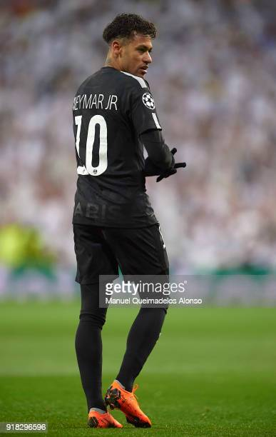 Neymar of Paris SaintGermain looks on during the UEFA Champions League Round of 16 First Leg match between Real Madrid and Paris SaintGermain at...