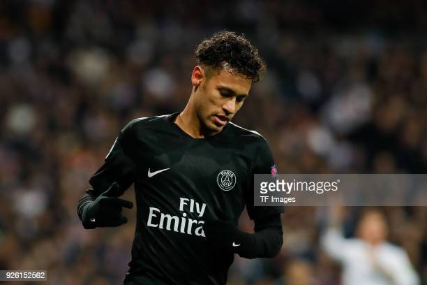 Neymar of Paris SaintGermain looks on during the UEFA Champions League Round of 16 First Leg match between Real Madrid and Paris SaintGermain at...