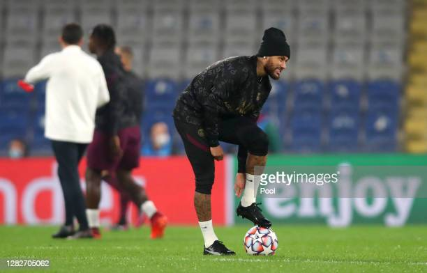 Neymar of Paris SaintGermain looks on during the warm up ahead of the UEFA Champions League Group H stage match between Istanbul Basaksehir and Paris...