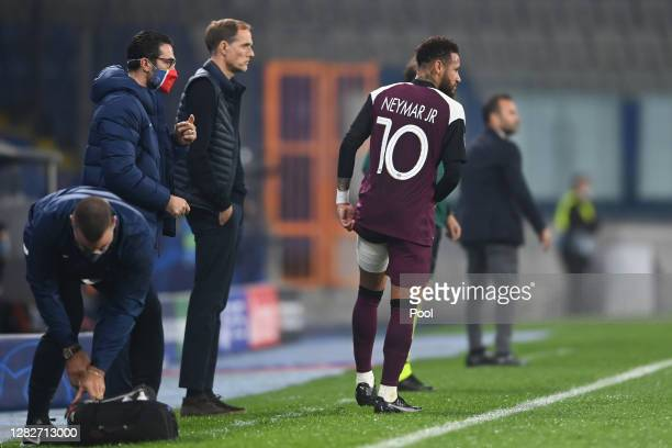 Neymar of Paris SaintGermain looks on from the sidelines during the UEFA Champions League Group H stage match between Istanbul Basaksehir and Paris...