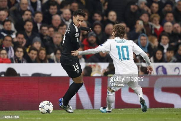 Neymar of Paris SaintGermain Luka Modric of Real Madrid during the UEFA Champions League round of 16 match between Real Madrid and Paris SaintGermain...