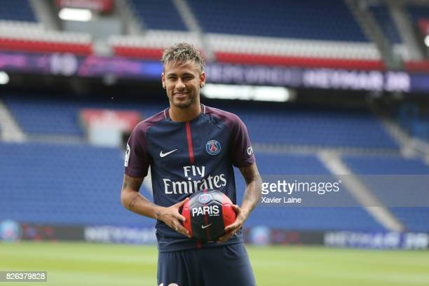 Neymar of Paris SaintGermain pose during his presentation to the press at Parc des Princes on August 4 2017 in Paris France