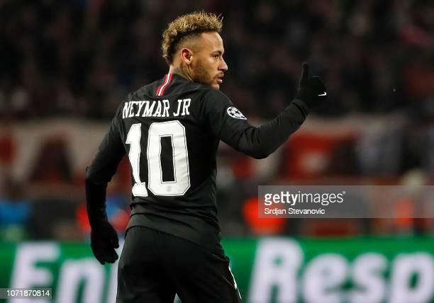 Neymar of Paris SaintGermain reacts during the UEFA Champions League Group C match between Red Star Belgrade and Paris SaintGermain at Rajko Mitic...