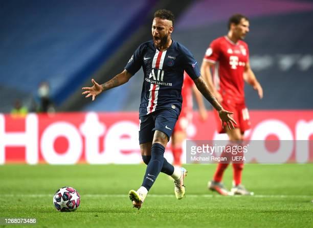 Neymar of Paris Saint-Germain reacts during the UEFA Champions League Final match between Paris Saint-Germain and Bayern Munich at Estadio do Sport...