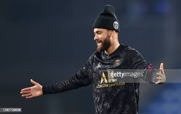 Neymar of Paris SaintGermain reacts during the warm up ahead of the UEFA Champions League Group H stage match between Istanbul Basaksehir and Paris...