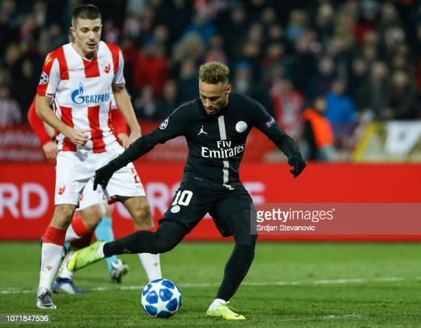 Neymar of Paris SaintGermain scores the goal near Dusan Jovancic of Red Star Belgrade during the UEFA Champions League Group C match between Red Star...