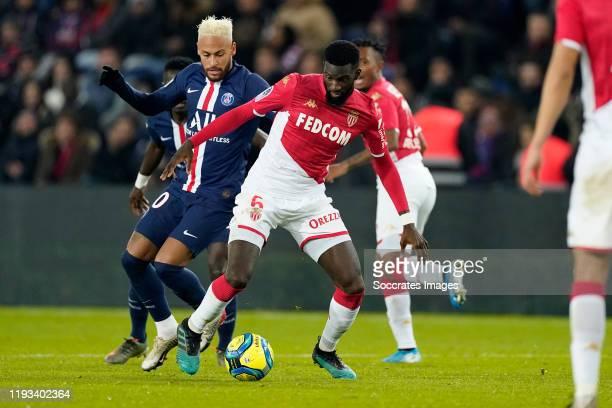 Neymar of Paris Saint-Germain, Tiemoue Bakayoko of AS Monaco during the French League 1 match between Paris Saint Germain v AS Monaco at the Parc des...
