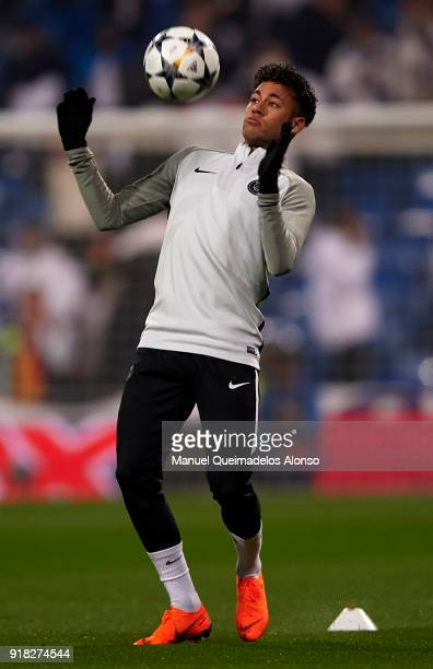Neymar of Paris SaintGermain warms up during the UEFA Champions League Round of 16 First Leg match between Real Madrid and Paris SaintGermain at...