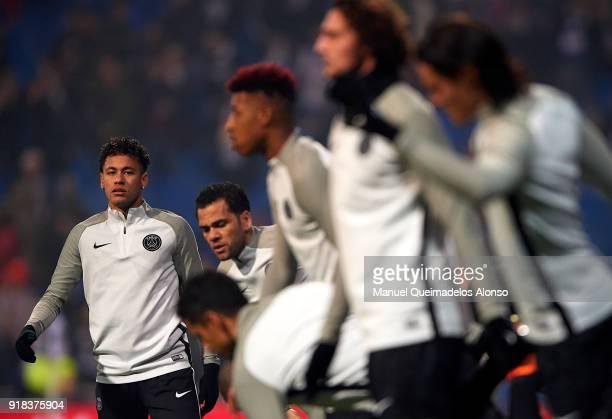 Neymar of Paris SaintGermain warms up during the UEFA Champions League Round of 16 First Leg match between Real Madrid and Paris SaintGermain at...
