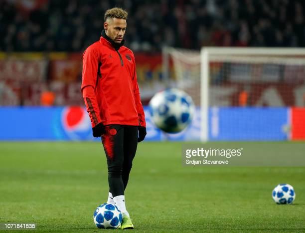 Neymar of Paris SaintGermain warms up prior to the UEFA Champions League Group C match between Red Star Belgrade and Paris SaintGermain at Rajko...