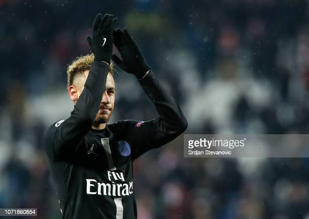 Neymar of Paris SaintGermain waves to the fans after the UEFA Champions League Group C match between Red Star Belgrade and Paris SaintGermain at...