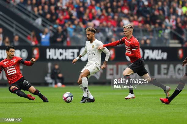 Neymar of PSG and Benjamin Bourigeaud of Rennes during the Ligue 1 match between Rennes and Paris Saint Germain at Roazhon Park on September 23 2018...