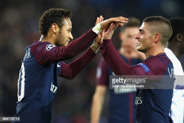 Neymar of PSG and Marco Verratti of PSG celebrates after Marco Verratti scored his sides first goal during the UEFA Champions League group B match...