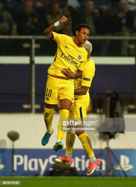 Neymar of PSG celebrates after scoring his sides third goal during the UEFA Champions League group B match between RSC Anderlecht and Paris...