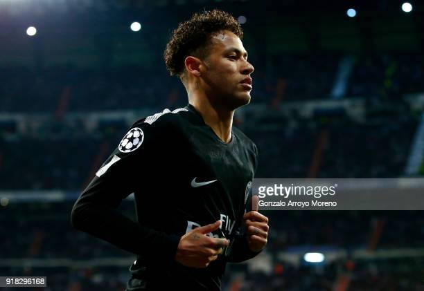 Neymar of PSG during the UEFA Champions League Round of 16 First Leg match between Real Madrid and Paris SaintGermain at Bernabeu on February 14 2018...