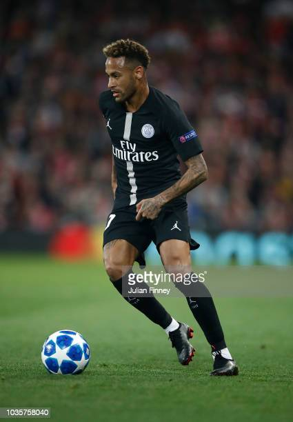 Neymar of PSG in action during the Group C match of the UEFA Champions League between Liverpool and Paris SaintGermain at Anfield on September 18...