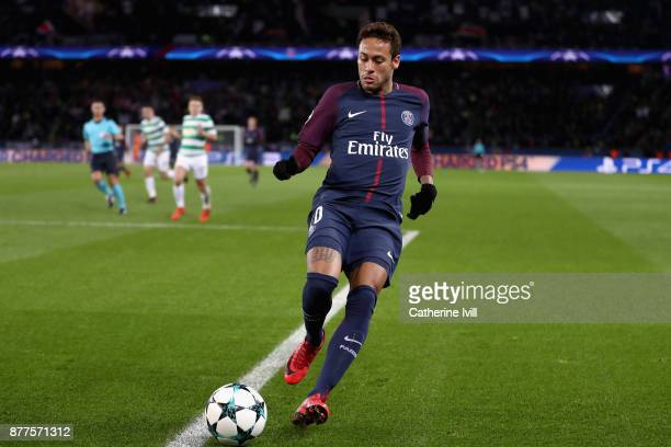 Neymar of PSG in action during the UEFA Champions League group B match between Paris SaintGermain and Celtic FC at Parc des Princes on November 22...