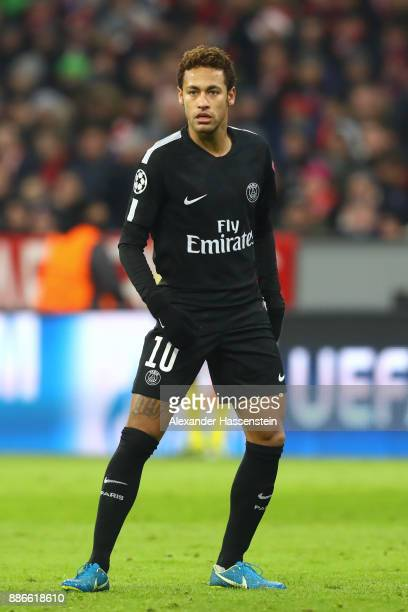 Neymar of PSG Paris looks on during the UEFA Champions League group B match between Bayern Muenchen and Paris SaintGermain at Allianz Arena on...