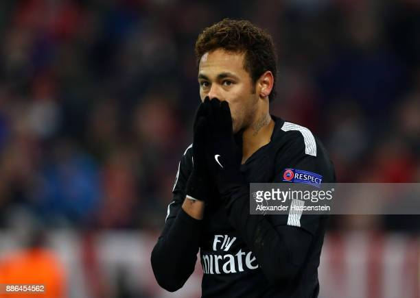 Neymar of PSG reacts during the UEFA Champions League group B match between Bayern Muenchen and Paris SaintGermain at Allianz Arena on December 5...