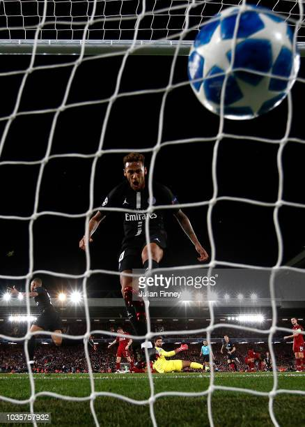 Neymar of PSG smashes the ball into the net after Kylian Mbappe of PSG had scored to make it 22 during the Group C match of the UEFA Champions League...