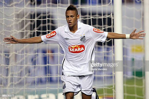 Neymar of Santos celebrates a scored goal during a match against Botafogo as part of the Brazilian Championship at Engenhao Stadium on May 8, 2010 in...