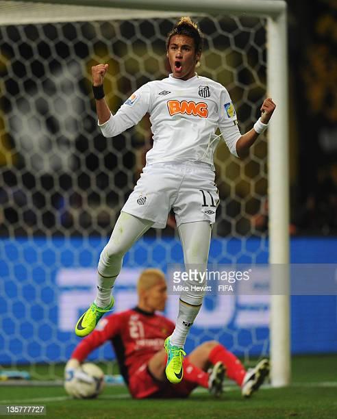 Neymar of Santos celebrates his wonder goal during the FIFA Club World Cup semi final match between Kashiwa Reysol and Santos at Toyota Stadium on...