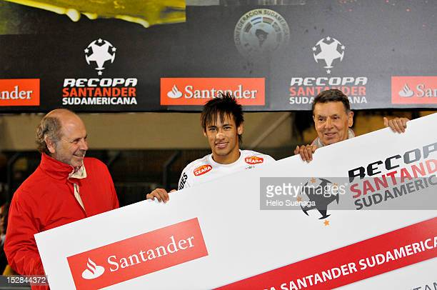 Neymar of Santos celebrates the title after winning the second leg of the final of the Recopa Sudamericana 2012 between Santos and Universidad de...