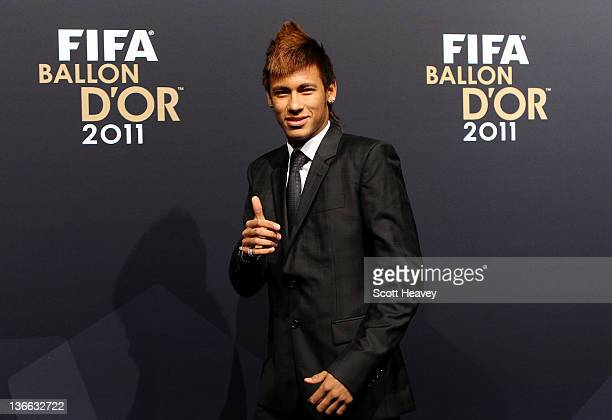 Neymar of Santos during the red carpet arrivals for the FIFA Ballon d'Or Gala 2011 on January 9 2012 in Zurich Switzerland