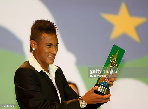 Neymar of Santos is elected the best striker during the Craque do Brasileirão Award 2010 held at the Municipal Theatre on December 6 2010 in Rio de...