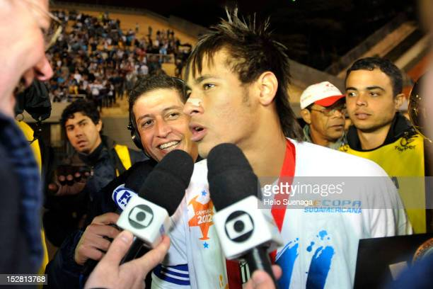 Neymar of Santos talks with the journalists after the second leg of the final of the Recopa Sudamericana 2012 between Santos and Universidad do Chile...