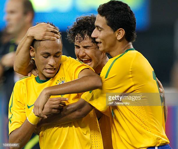 Neymar Paulo Henrique Ganso and Alexandre Pato of Brazil celebrate Neymar's goal against the US in the first half of a friendly match at the New...