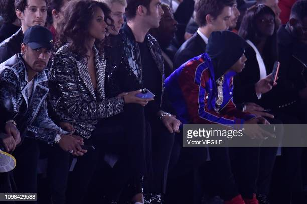 Neymar Pierre Niney Cindy Bruna and A Boogie Wit Da Hoodie during the Balmain Homme Menswear Fall/Winter 20192020 fashion show as part of Paris...