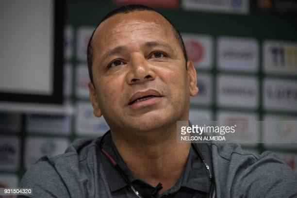 Neymar Santos father of Brazilian superstar and PSG's footballer Neymar Junior delivers a press conference along with French football team Paris...