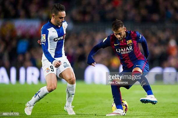 Neymar Santos Jr of FC Barcelona and Sergio Garcia of RCD Espanyol fight for the ball during the La Liga match between FC Barcelona and RCD Espanyol...
