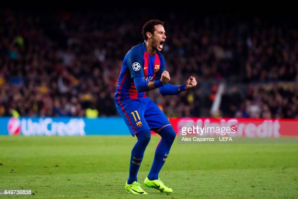 Neymar Santos Jr of FC Barcelona celebrates after scoring during the UEFA Champions League Round of 16 second leg match between FC Barcelona and...